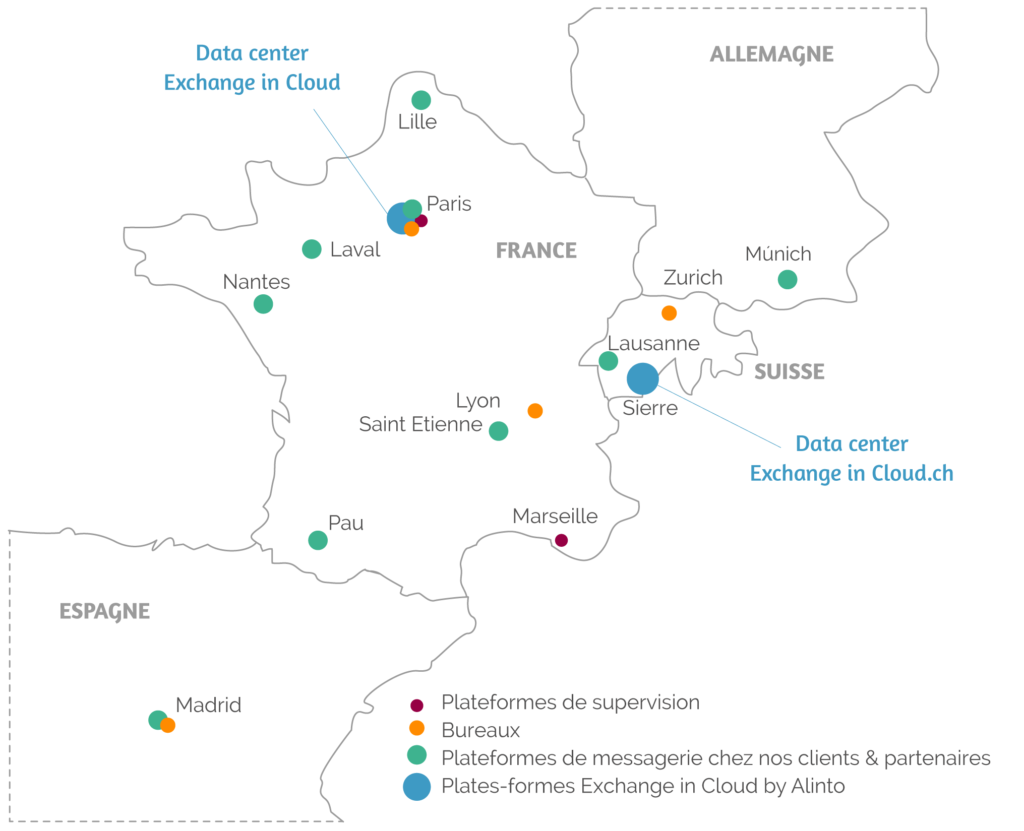 Carte hébergement France Exchange in Cloud